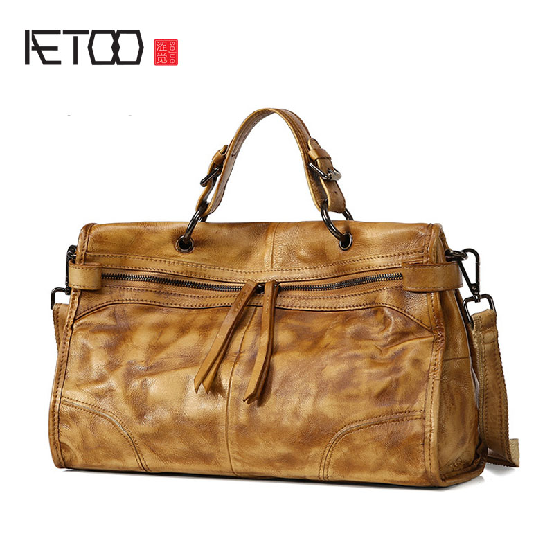AETOO Europe and the United States retro wipe the first layer of leather handbag Messenger handmade original new handbags europe and the united states style first layer of leather lychee handbag fashion retro large capacity solid business travel bus