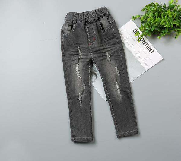 2017 primavera infantil chicos jeans agujeros bebé elasticidad de mezclilla negro pantalones de los niños pantalones casuales niño ropa 2-6 T