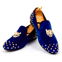 Harpelunde Mens Wedding Shoes Spikes Blue Velvet Loafers Animal Buckle Flat Shoes Size 7 14