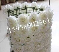 EMS Free Shipping 60 40cm10pcs Lot Artificial Silk Rose Flower Wall Wedding Background Lawn Pillar Flower