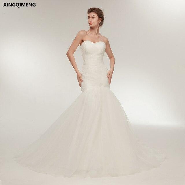 a8b9717e292 In Stock Sexy Mermaid Wedding Dress Ivory Cheap Simple White Wedding  Dresses Long Chic Bridal Gown Elegant robe de mariee