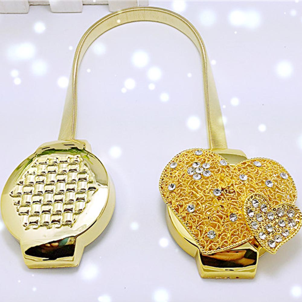 2pcs Golden Heart Diamond Magnetic Curtain TieBack Clips Holdbacks Curtain <font><b>Holder</b></font> Buckle Tie Rope for Bedroom Home Decorations