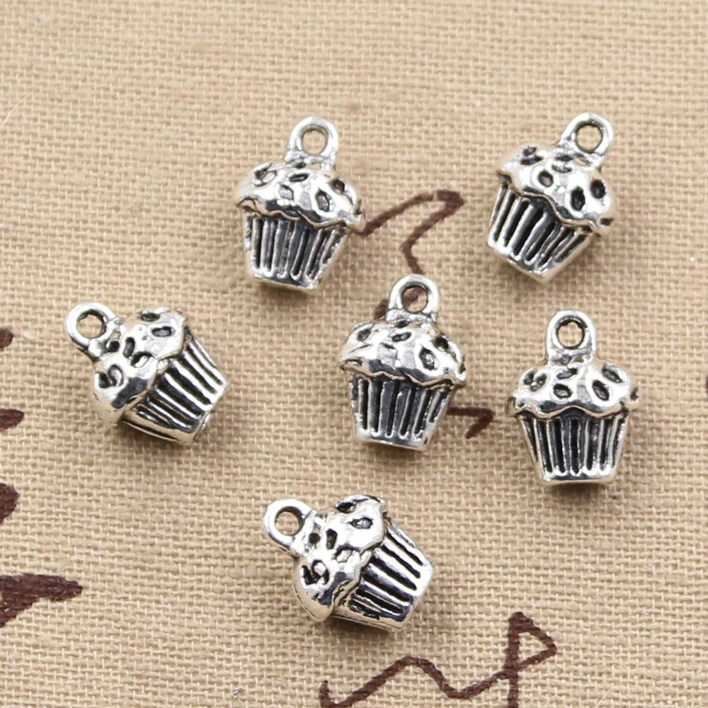 5pcs Charms 3D cupcake cake 13*10*8mm Antique Making pendant fit,Vintage Tibetan Silver,DIY bracelet necklace