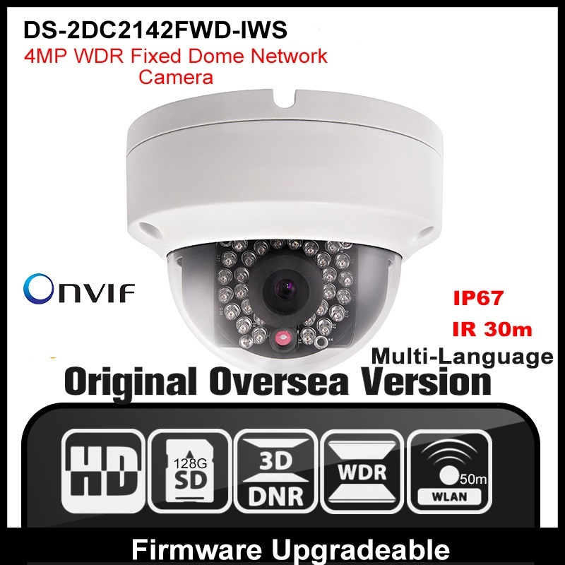 HIKVISION DS-2CD2142FWD-IWS(4mm) Original English Version POE Mini IP Network Dome Camera 4MP Firmware Upgradeable HIK free shipping in stock new arrival english version ds 2cd2142fwd iws 4mp wdr fixed dome with wifi network camera