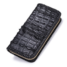 Unisex hand-woven original Nile crocodile leather zipper wallet Leather retro personality large-capacity clutch
