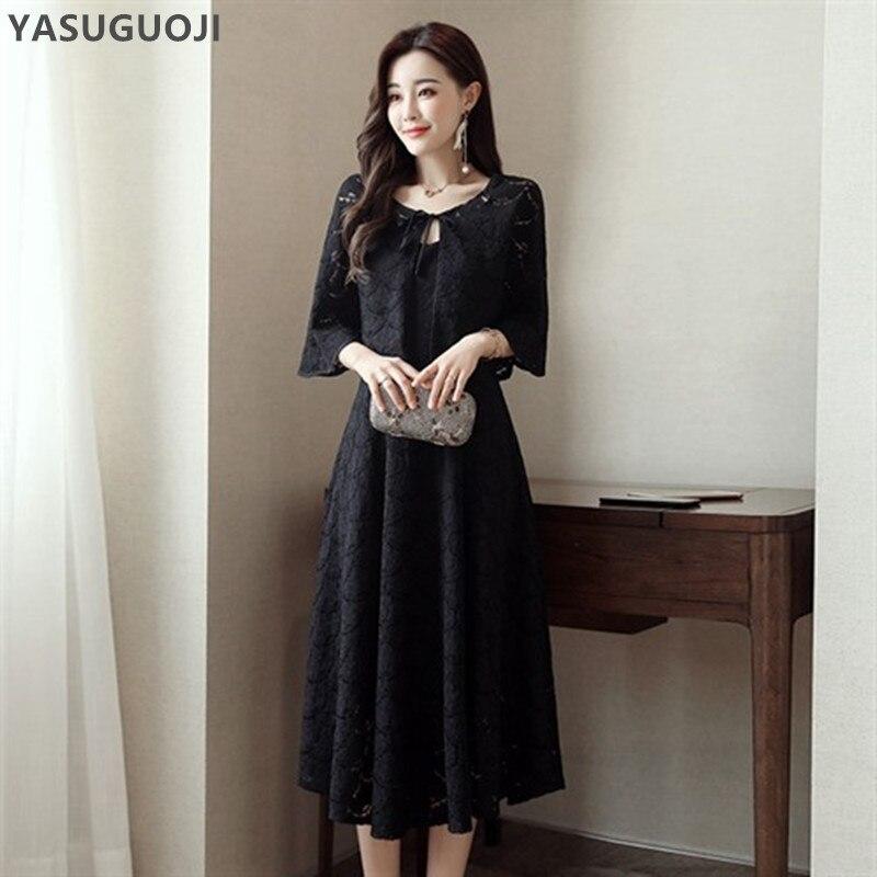 YASUGUOJI nouveau 2018 automne mode dentelle robe costumes femmes veste courte et longue robe 2 pièces costumes slim fit ensembles élégants TZ12