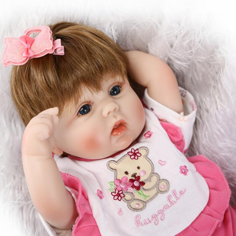 NPK bebe reborn girl dolls silicone reborn baby dolls  with soft cotton body blue eyes bonecas baby born toys for children stuffed toys about 55cm npk bonecas silicone reborn baby dolls safe and big eyes for 22inch soft vinyl alive baby toy for girls