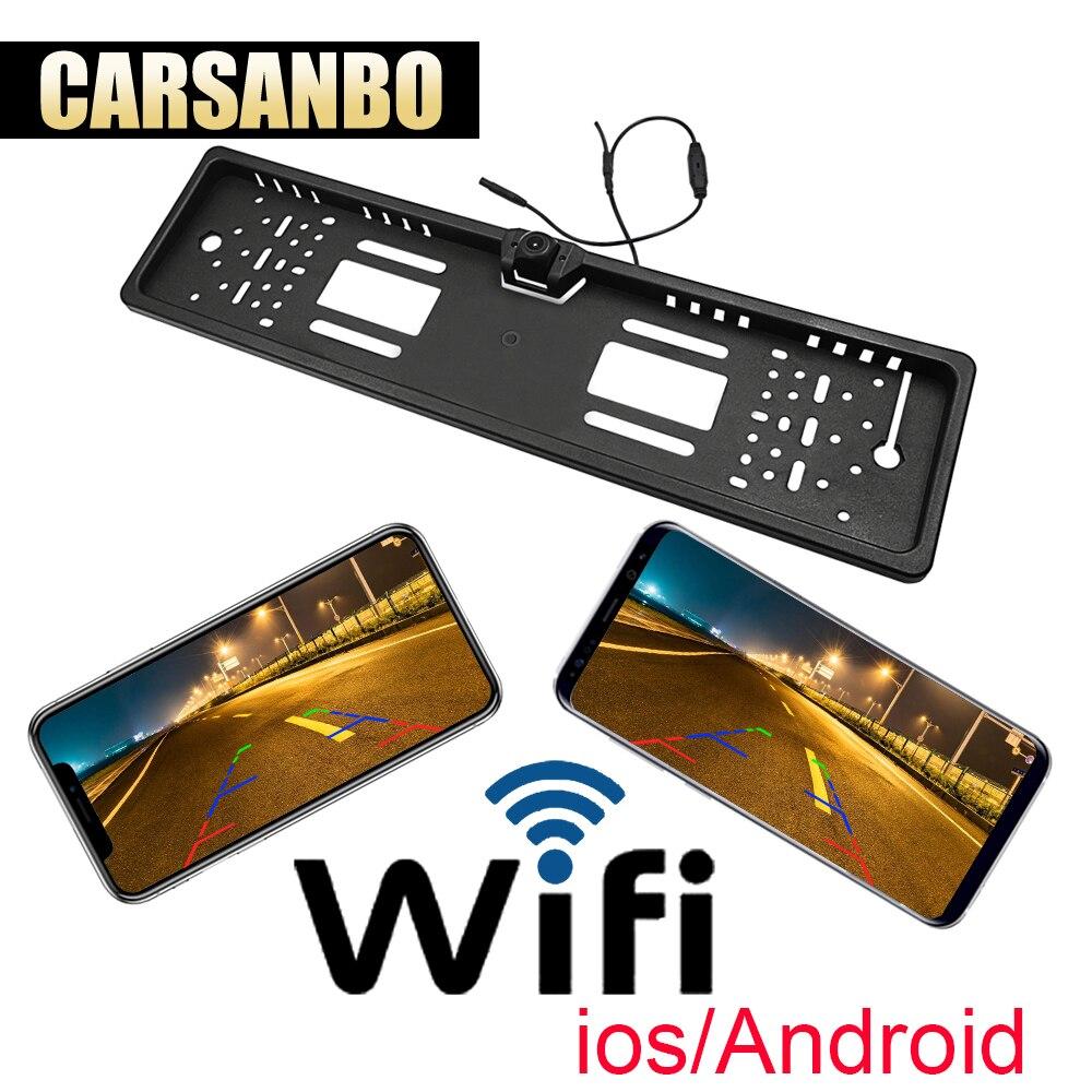 2019 plus récent WIFI voiture vue arrière caméra sans fil voiture européenne plaque d'immatriculation cadre caméra inverse pour IOS Android téléphone Mobile
