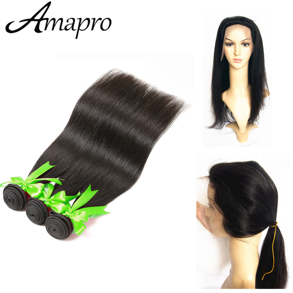 Straight hair perm products - Amapro Hair Products 8a 360 Lace Frontal With Bundle 150 Density Lace Virgin Hair Closure 3 Bundles Straight Hair Bundles