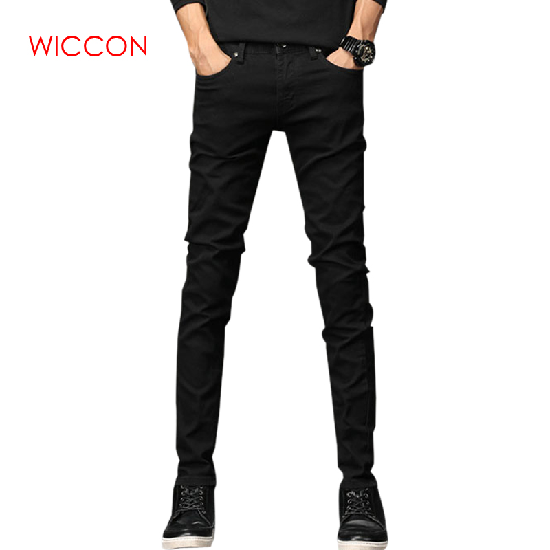 2019 Spring New Men   Jeans   Black Classic Fashion Designer Denim Skinny   Jeans   Men Casual High Quality Slim Fit Straight Trousers