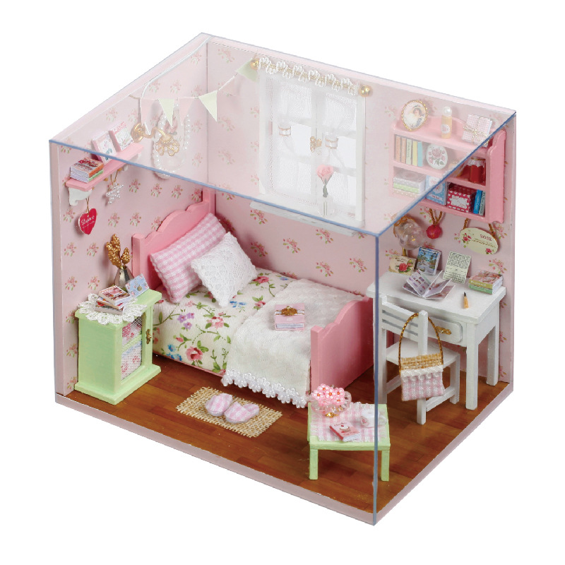 <font><b>H002</b></font> sunshine angel Diy Doll House miniatura bedroom 3D Wooden Dollhouse miniature Furniture For Children Toys dolls houses image