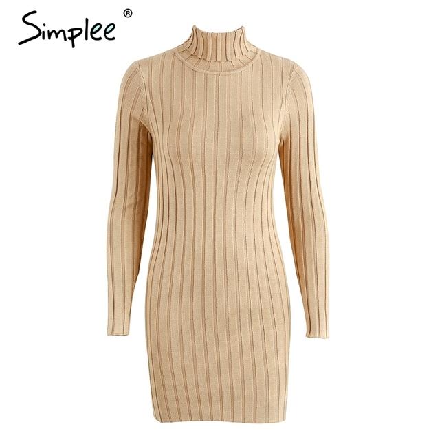 Simplee Casual cotton turtleneck knitting dress women Slim long sleeve bodycon pullovers dress 2017 Autumn winter dress