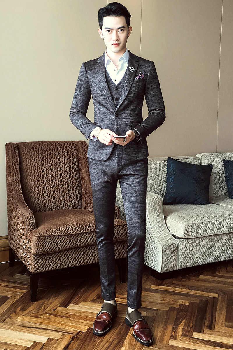 2019 de luxo nova chegada outono formal dos homens ternos casamento noivo traje homme magro ajuste britânico decente jantar terno cinza azul