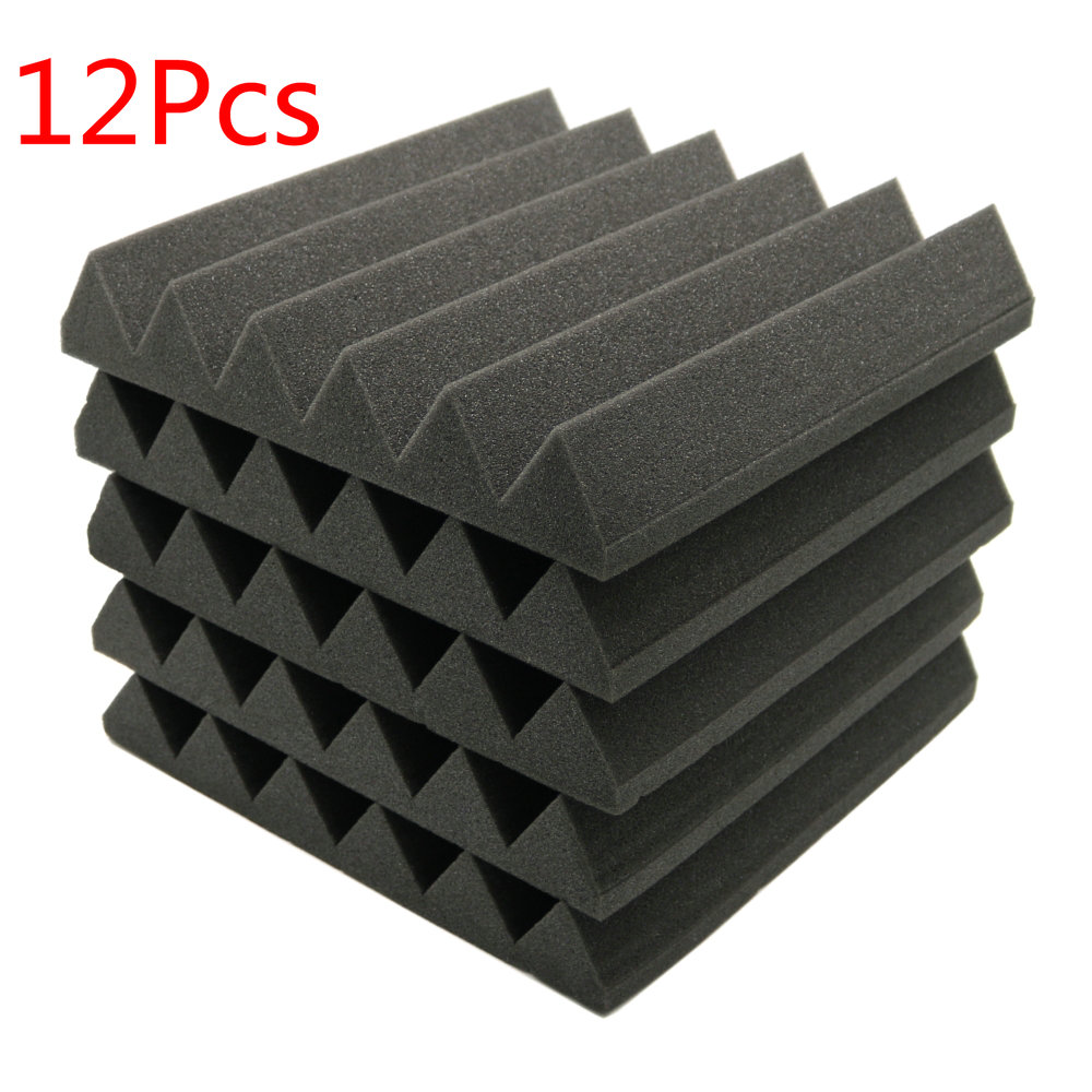 12Pcs Soundproofing Foam Acoustic Foam Sound Treatment Studio Room Absorption Wedge Tiles Polyurethane foam 2x12x12 Free ship sound absorption coefficient analysis