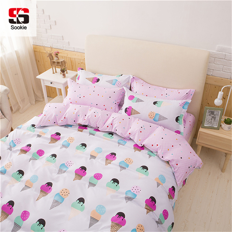 Sookie Pretty Pink 3/4pcs Bedding Set King Queen Size Bed Linen For Girls Ice Cream Printed Duvet Cover Pillowcase Set