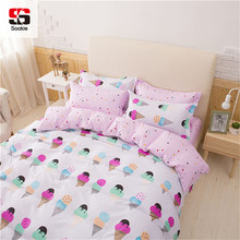 Sookie Pretty Pink 3/4pcs Bedding Set king queen Size Bed Linen for Girls Ice Cream Printed Duvet Cover Pillowcase Set(China)