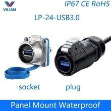 Enchufe de montaje de Panel hembra USB 3,0, adaptador de Cable, Dip, enchufe USB rápido, interfaz de datos Cnlinko resistente al agua, 1 Uds.