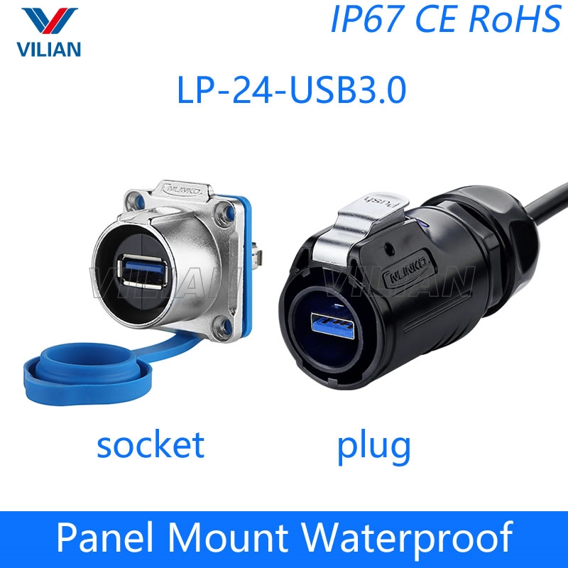 Anmbest 2PCS Electrical USB2.0 IP67 Waterproof Connector Industrial Standard Double Head Coupler Adapter Female to Female Socket Plug Panel Mount with Waterproof//Dust Cap