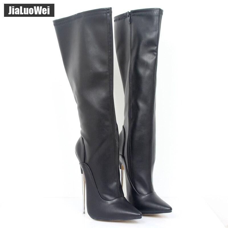 jialuowei Fashion Sexy Style 7 Extreme High Heel Boots Women Knee High Zip Thin Metal Heels