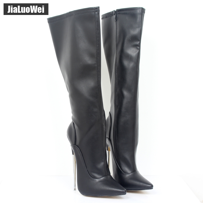 jialuowei Fashion Sexy Style 7 Extreme High Heel Boots Women Knee-High Zip Thin Metal Heels Sexy Fetish shoes Plus size 36-46 jialuowei women sexy fashion shoes lace up knee high thin high heel platform thigh high boots pointed stiletto zip leather boots