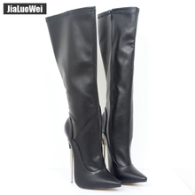 Fashion Europe America Style Knee-High made PU Patent Leather Extreme Thick High Heel Boot Women Knee Zip Sexy shoes