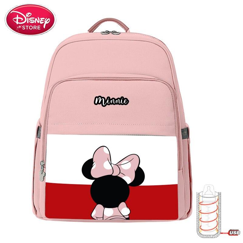 Disney Baby Diaper Bags Mickey Minnie Mouse Mummy Mom Bags Disney Diaper Bag Backpack For Baby Care Oxford USB Feeding Handbag