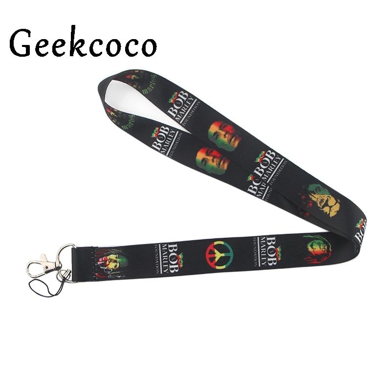 Bob Marley Singer Lanyard For Key Mobile Phone Straps Necklace Card Holders Webbing Ribbon Keychain Keyring Hang Rope Gift J0437
