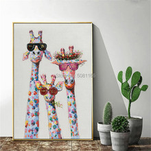 Handmade Home Decor Wall art Painting Art funny Animal portrait Picture Hand painted cool Giraffe family Oil Paintings on Canvas