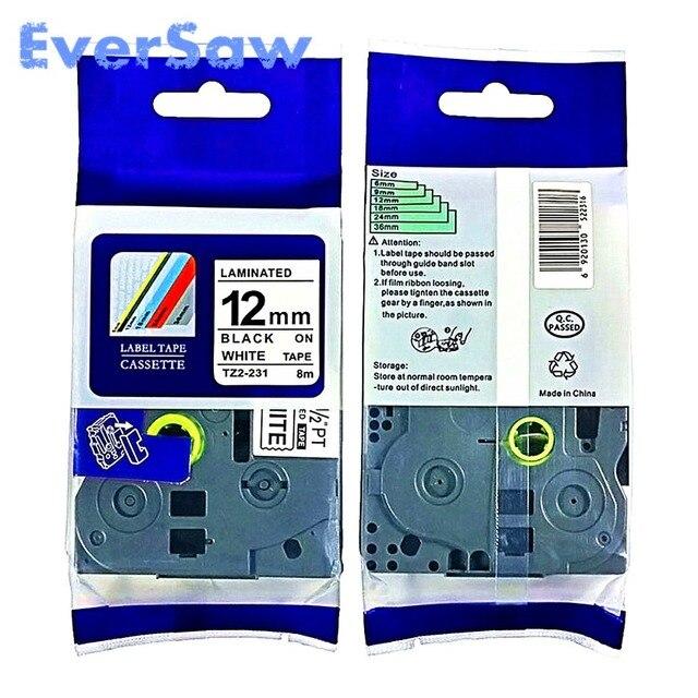 5 pacco TZe 231 brother tze nastro adesivo Nero su Bianco Nastro 12mm x 8 m TZ 231 TZE 231 Compatibile per brother tz PT H105 PT550 PT1000