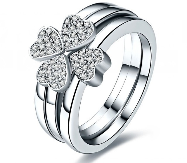 Sterling Gold 585 Clover 4 Leaf 3 Rings Combine Captivating
