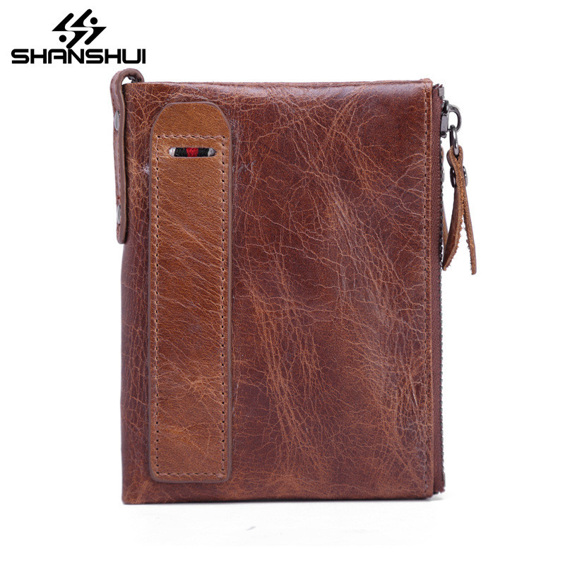 Genuine Leather Men Standard Wallet Small Zipper Women Walet Hot Sale High Quality Male Short Coin Purse Brand Card Holder Purse