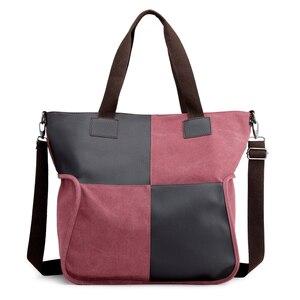 Image 4 - 2020 Vintage قماش المرأة حقيبة يد حقيبة يد عادية مبطن سعة كبيرة السيدات حقيبة يد طالب كلية حقيبة كتف عبر الجسم
