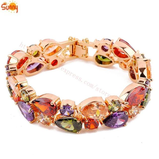 Fashion Jewellery Multicolor Shire Bangles Bracelets Lady S 18k Rose Gold Plated For Women Gift