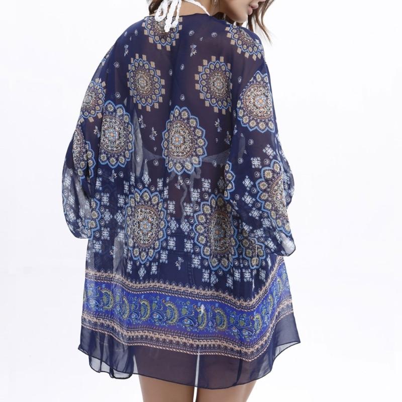Fashion New Design Womens Sheer Chiffon Blouse Kimono Floral Print Cardigan Loose Beach Cover up