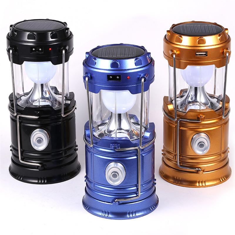 Collapsible and Portable Multifunctional Camping Lantern Outdoor Rechargeable Solar Tent Lanterns Lamp