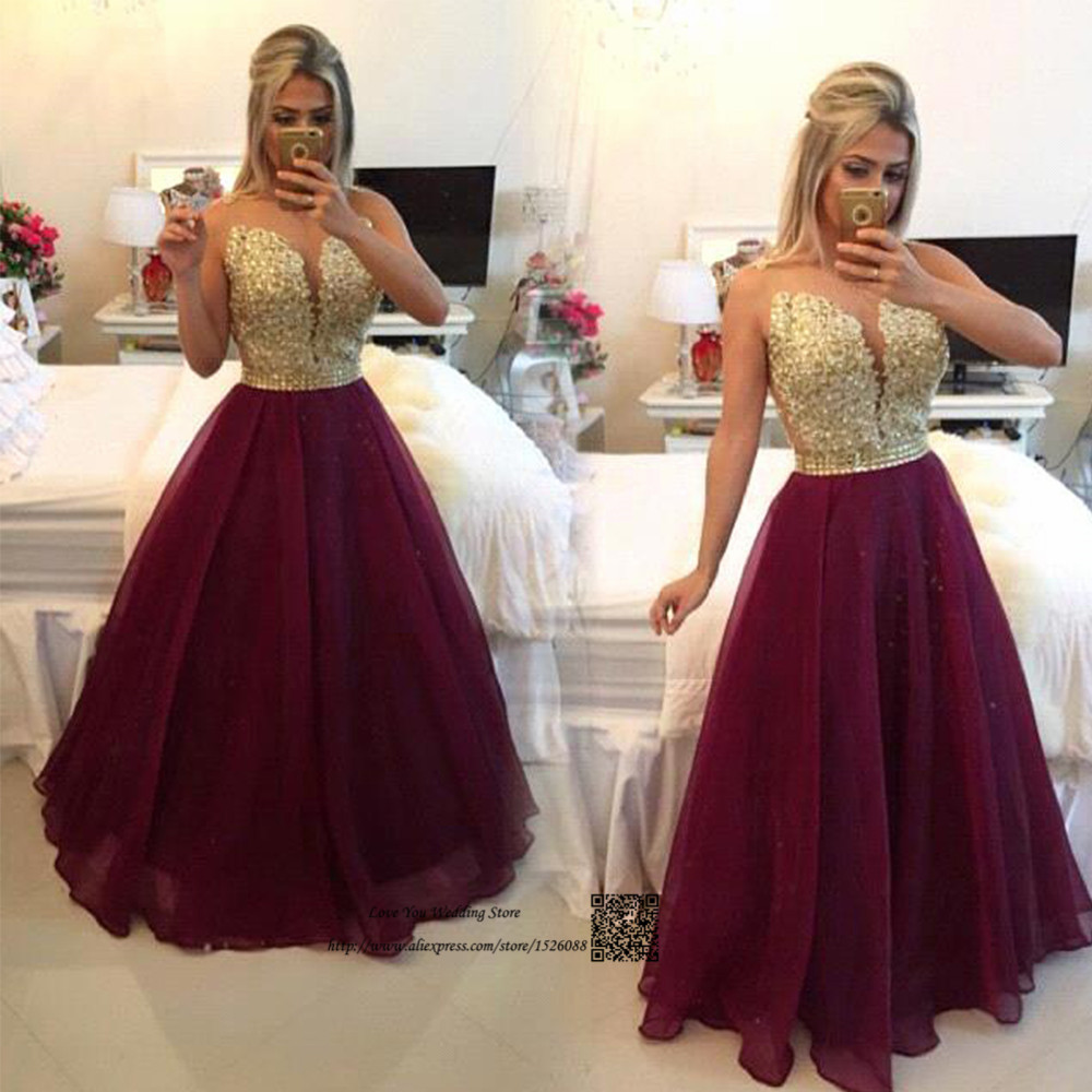 robe de soiree courte 2017 formal long evening gowns burgundy organza gold lace african prom