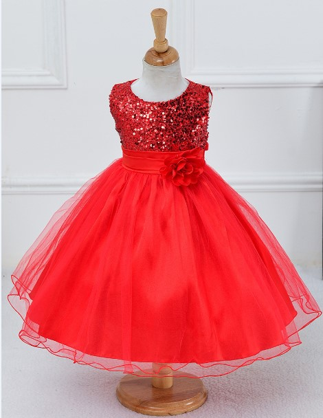 979a97335ee5 Christmas Girls party dress sequined long with belt flower child ...