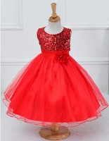 Christmas Girls party dress sequined long with belt flower child dresses toddler to teen age size 4t 5t 6 7 8 9 10 11 12 years