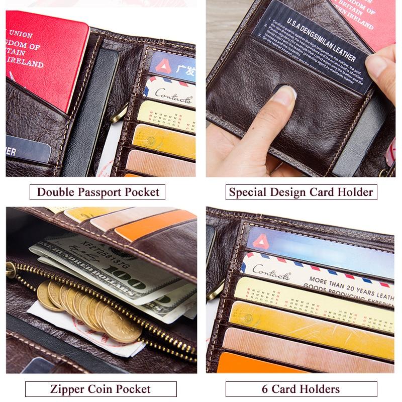 Image 5 - 2020 Contacts Genuine Leather Vintage Wallet Passport Holder  Travel Bag Coin Purse Credit Card Wallets For Men Brand  DesignerWallets
