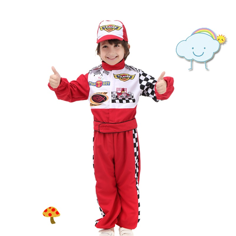 new style stage costumes childrens halloween cosplay wear the red race car driver uniform masquerade costume