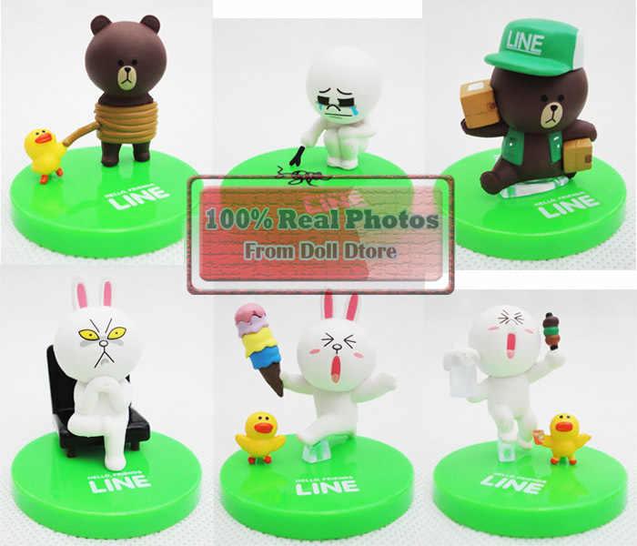 6 pçs/lote 5cm Urso LINHA Marrom Cony Coelho PVC bonecas Anime Figuras de Ação brinquedos clássicos Presente de Natal para meninas menino