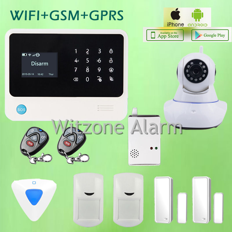 Smart Home Alarm Security System IOS Android APP Controlled GS-G90B WIFI GSM GPRS Alarm with Sirene and Wireless IP Camera 720P ios android app remote control smart power socket wireless burglar alarm security system gsm gprs wifi alarm system g90b