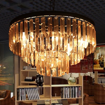 American Retro Round Droplight LED Crystal Pendant Light Fixtures For Living Dining Room Hanging Lamp Indoor Lighting Lamparas american iron round crystal vintage led pendant light fixtures living hanging lamp indoor lighting lamparas suspension luminaire