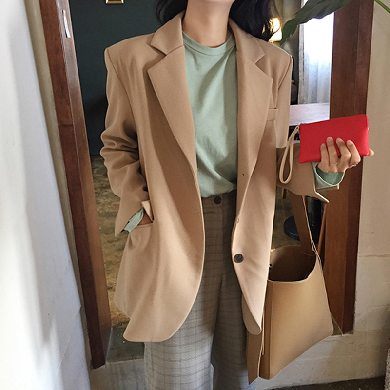 BGTEEVER Female Jacket Outwear Suits Women Blazer One-Button Loose Casual Notched Full