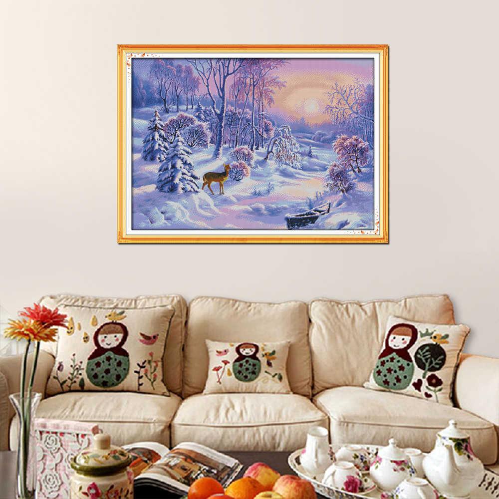 Vreugde Zondag De Bos Sneeuw Home Decor Diy Schilderen Count Kleur Katoen 14CT 11CT 18CT Kruissteek Borduren Kit Handwerken sets