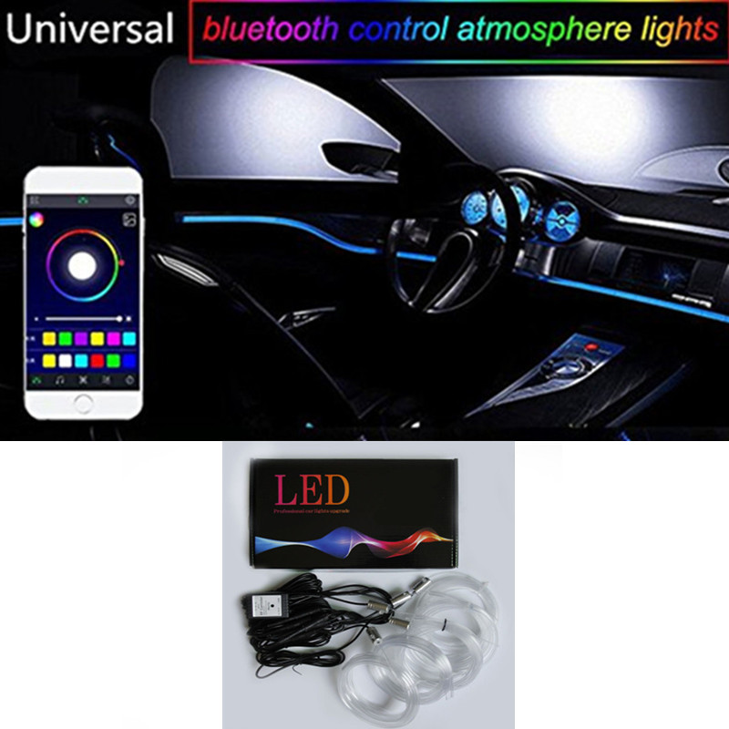 Newset 1 Set Colorful RGB LED Car Interior Neon EL Wire Strip Light Auto Dashboard Decorative Lamp Sound Active APP Control kit