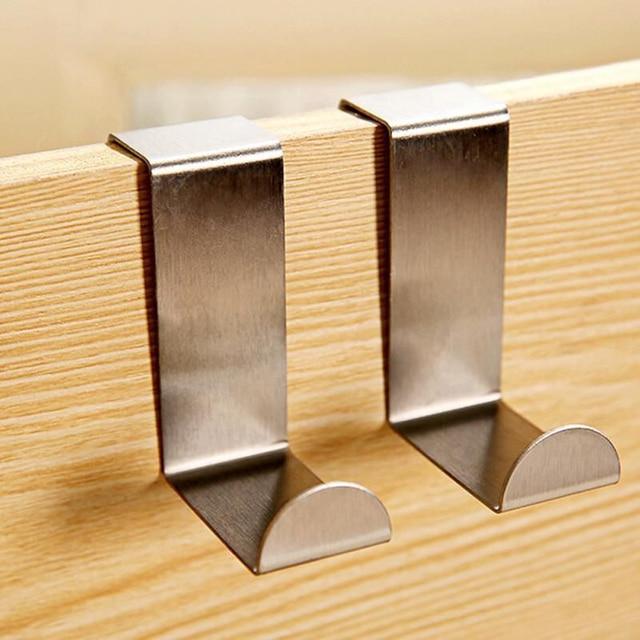 4pcs/lot Stainless Steel Over Door Hook Home Kitchen Cupboard Cabinet Towel  Coat Hat Bag