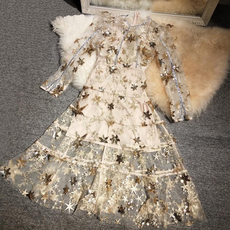 Nuovo industrie stelle sequins del ricamo prospettiva della garza fata vestito di stile di autunno-in Abiti da Abbigliamento da donna su  Gruppo 1