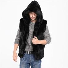 Мужская куртка из искусственного меха, жилетка без рукавов, зимнее теплое пальто с капюшоном, жилетка
