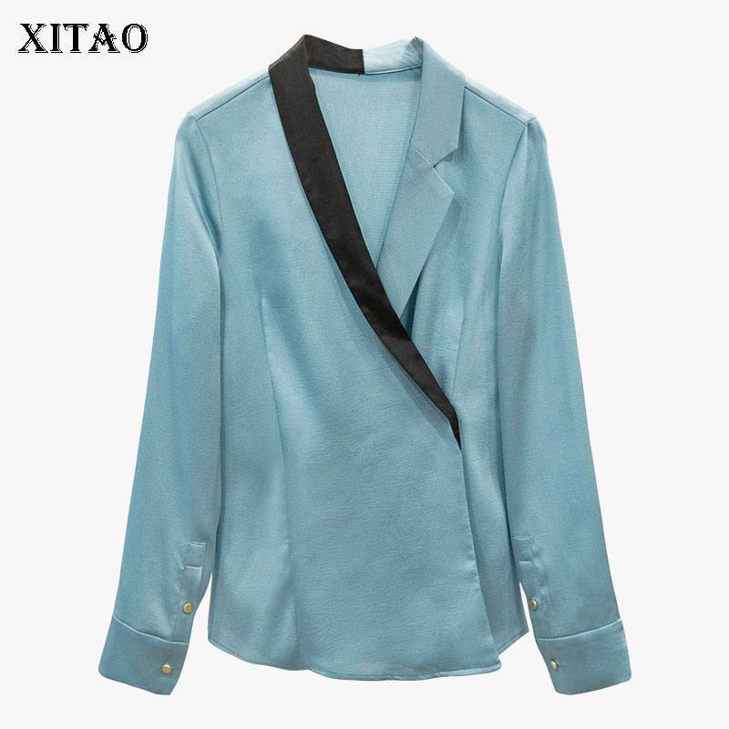 xitao Dll2985 Jersey Patchwork Venda Primavera Nuevo Blue Mujeres Sólido Manga Abrigo V Light De Moda 2019 Con Mujer Color Completa Cuello Blusa En rqr6Radw